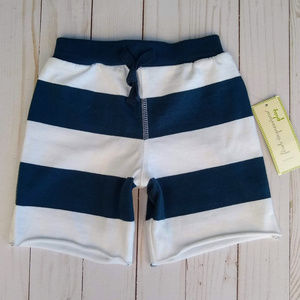 First Impressions Blue White Striped Jersey Shorts